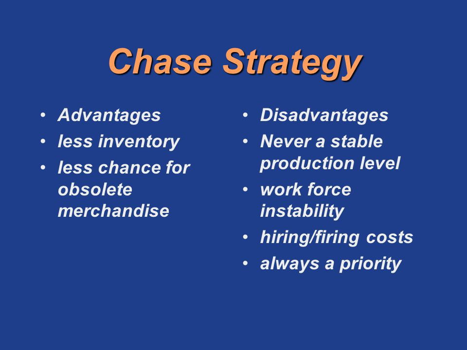Chase Strategy Advantages less inventory