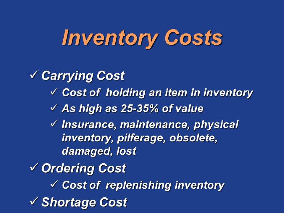 Inventory Costs Carrying Cost Ordering Cost Shortage Cost