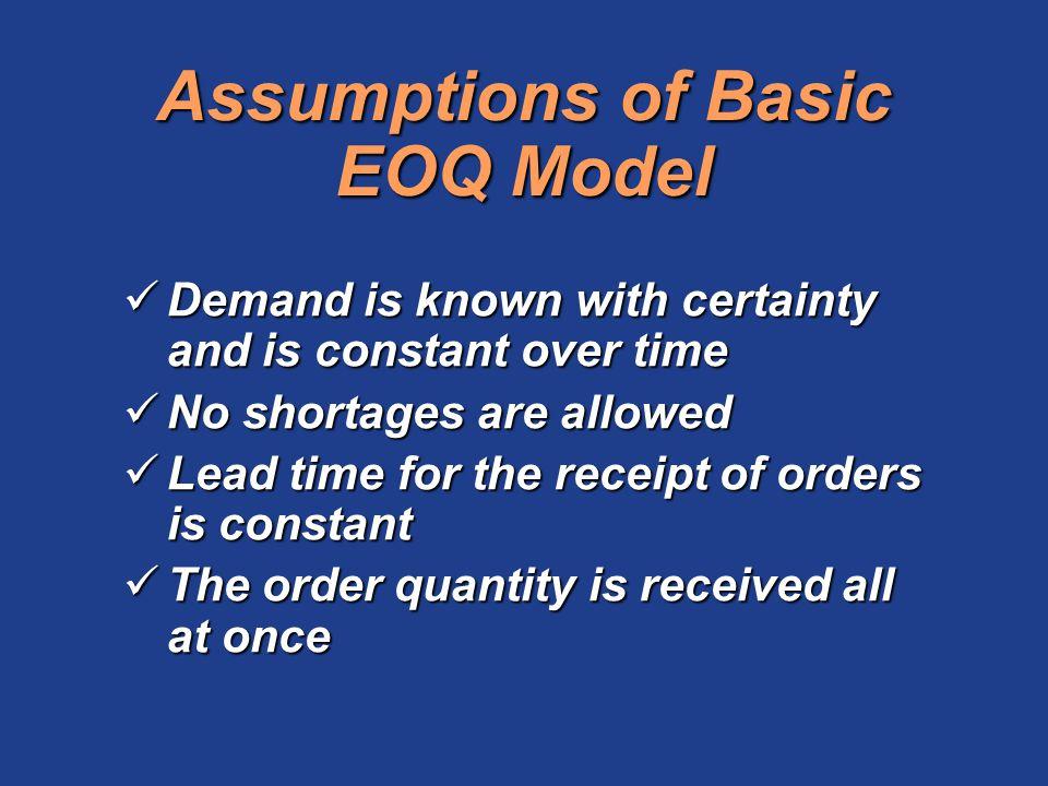 Assumptions of Basic EOQ Model