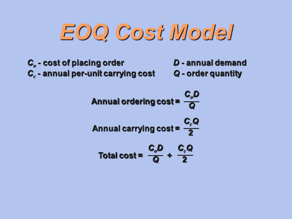 EOQ Cost Model Co - cost of placing order D - annual demand