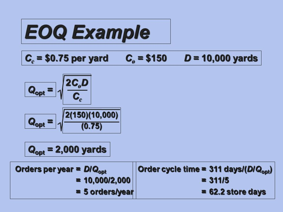 EOQ Example Cc = $0.75 per yard Co = $150 D = 10,000 yards 2CoD Cc