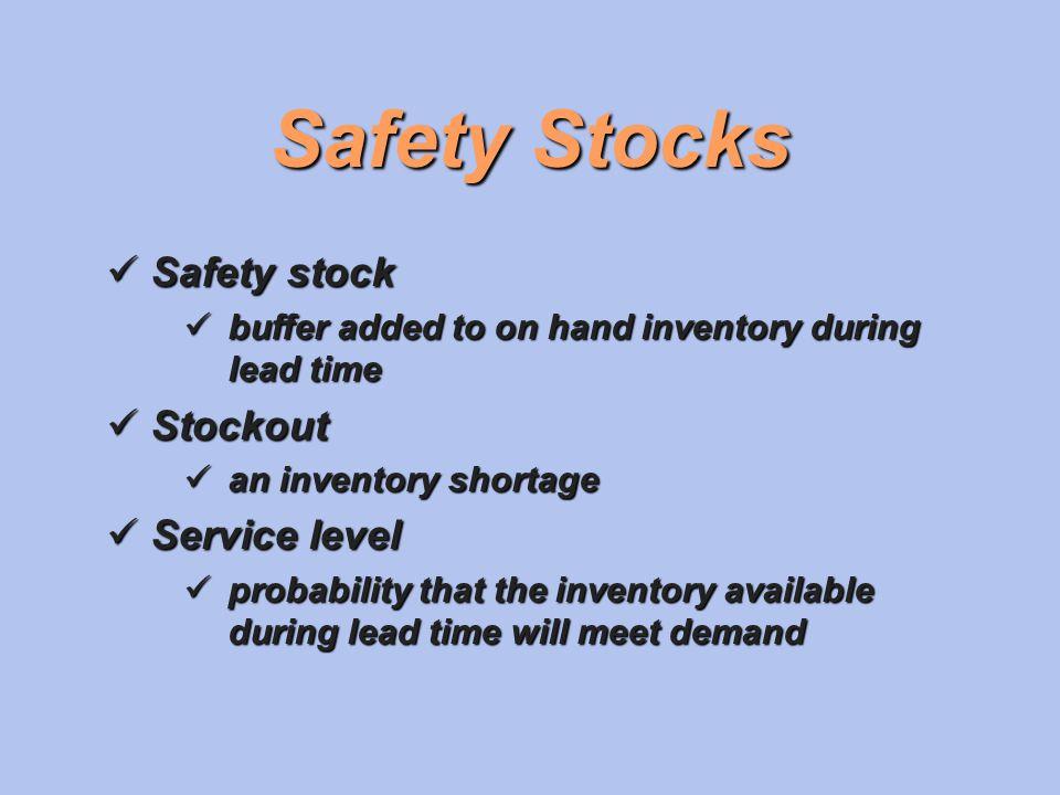 Safety Stocks Safety stock Stockout Service level