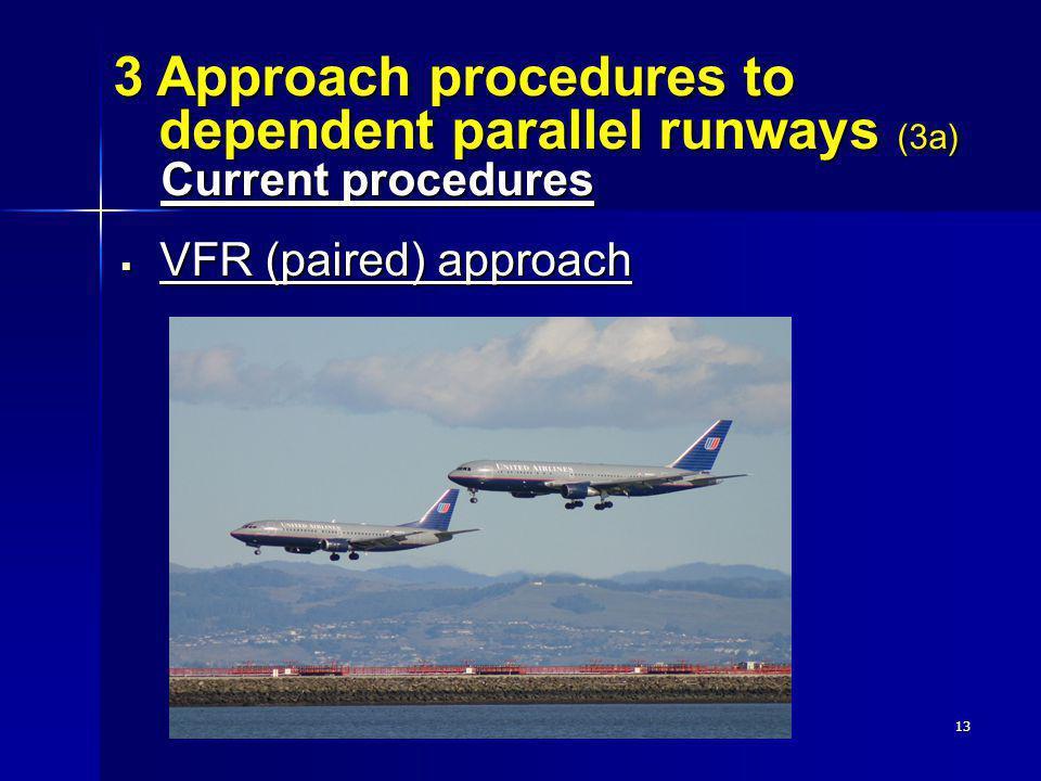 3 Approach procedures to dependent parallel runways (3a) Current procedures