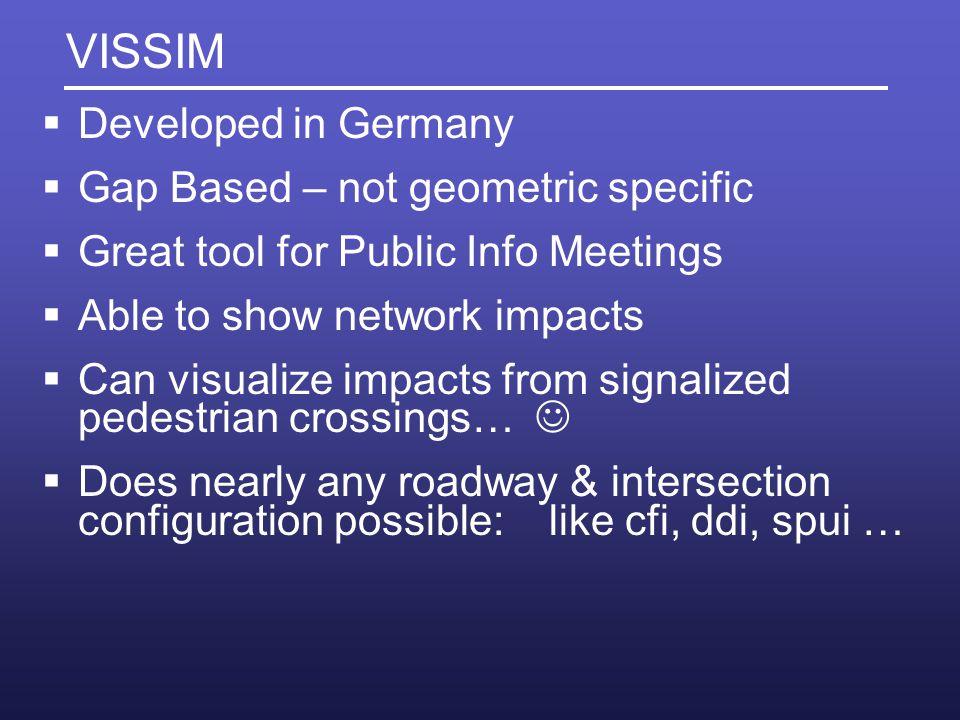 VISSIM Developed in Germany Gap Based – not geometric specific