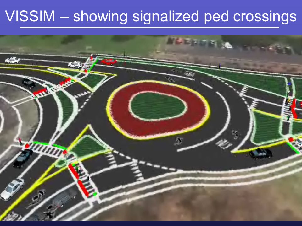 VISSIM – showing signalized ped crossings
