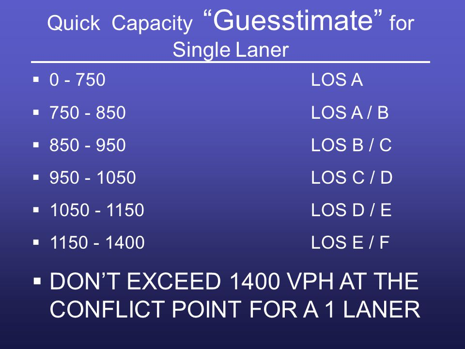 Quick Capacity Guesstimate for Single Laner
