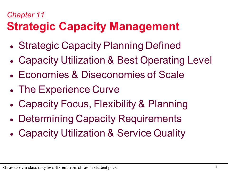 Chapter 11 Strategic Capacity Management