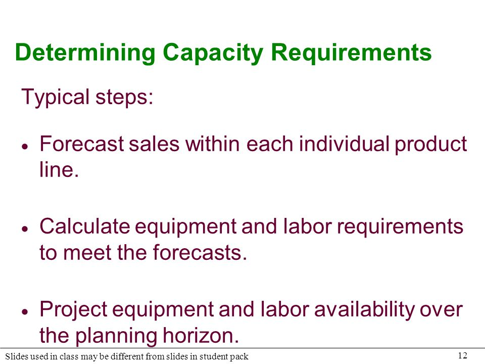 Determining Capacity Requirements