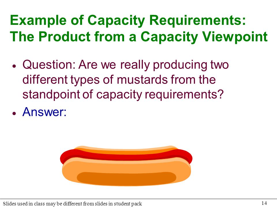 Example of Capacity Requirements: The Product from a Capacity Viewpoint