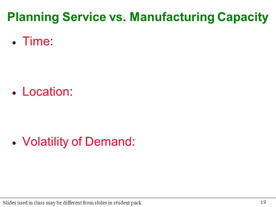 Planning Service vs. Manufacturing Capacity