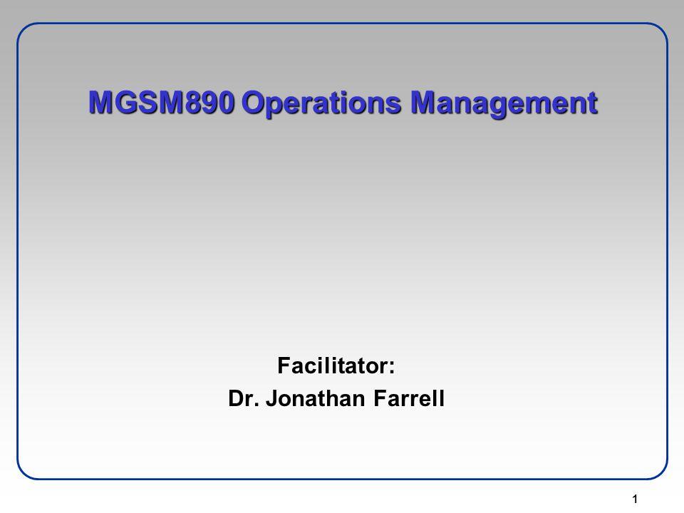 MGSM890 Operations Management