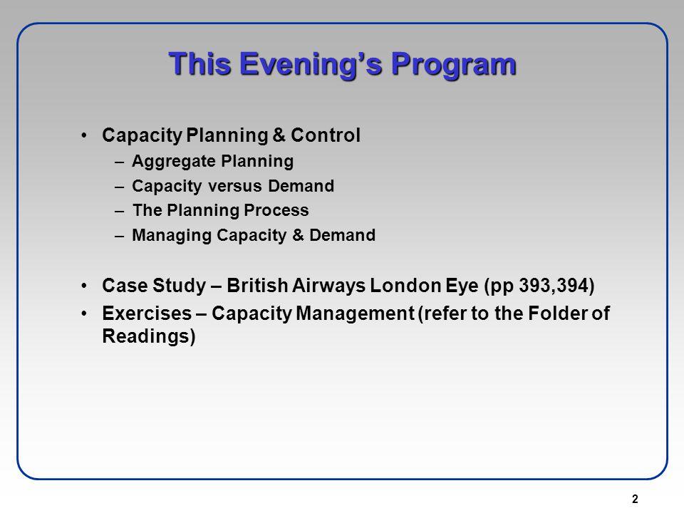 This Evening's Program