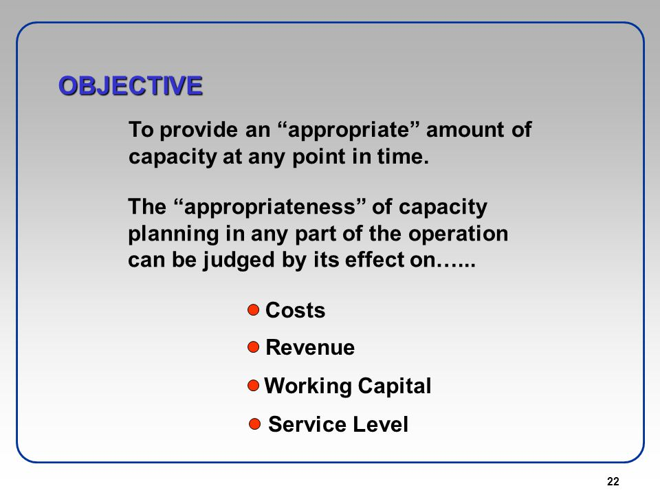 OBJECTIVE To provide an appropriate amount of capacity at any point in time.