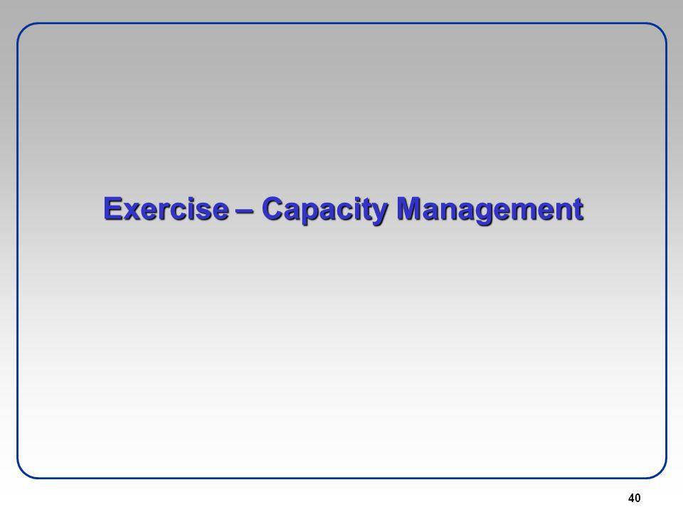 Exercise – Capacity Management