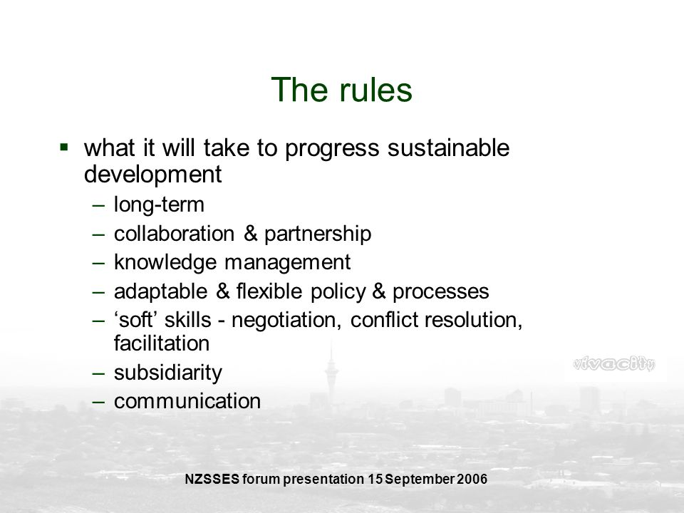NZSSES forum presentation 15 September 2006