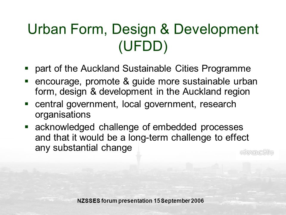 Urban Form, Design & Development (UFDD)