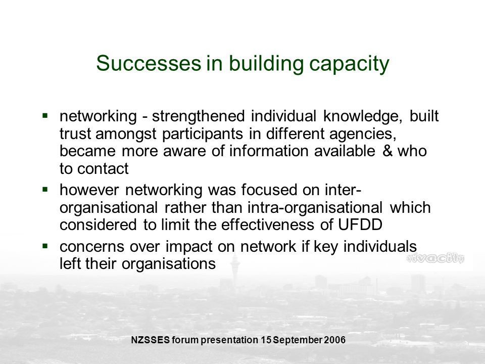 Successes in building capacity