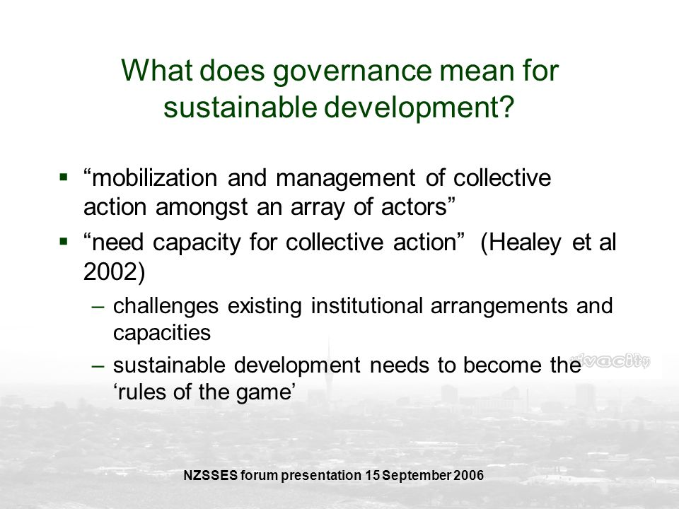 What does governance mean for sustainable development