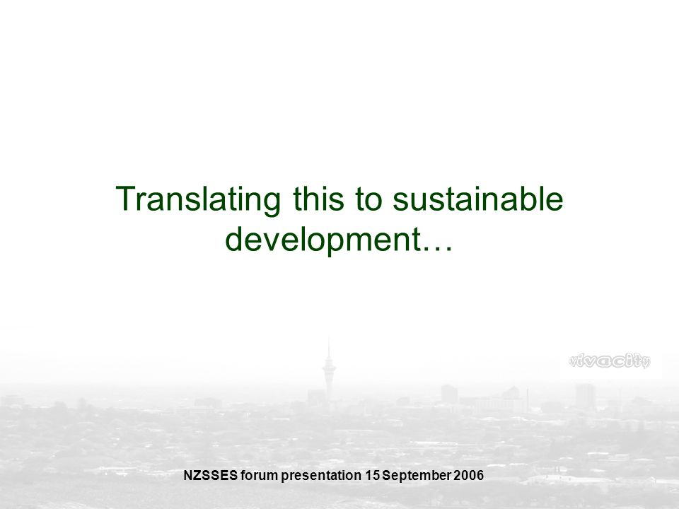 Translating this to sustainable development…