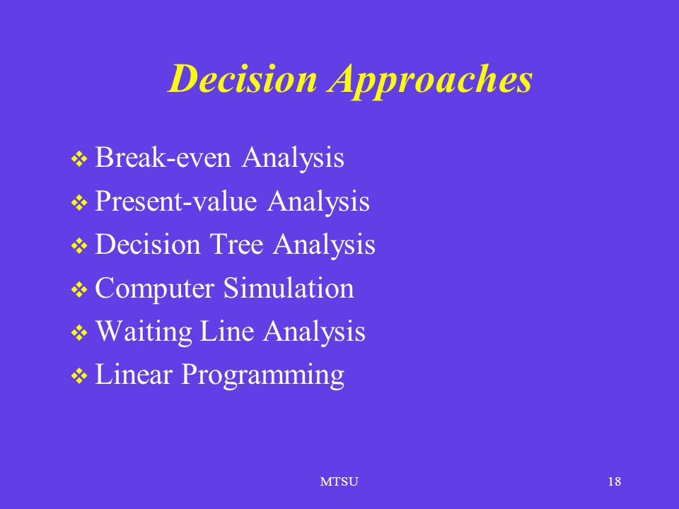 Decision Approaches Break-even Analysis Present-value Analysis