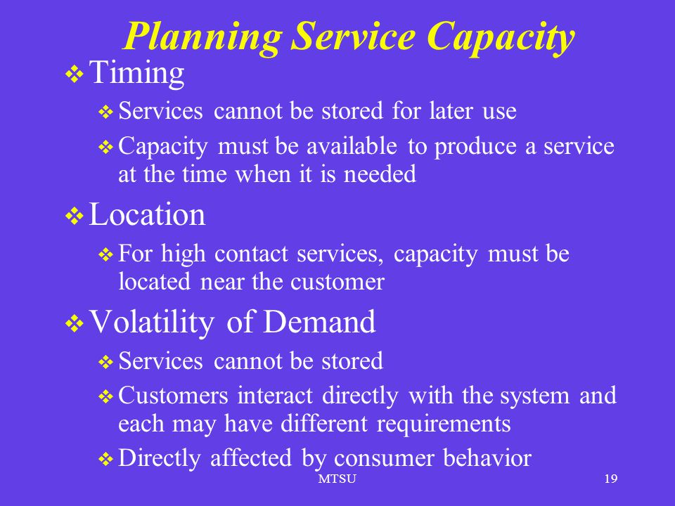 Planning Service Capacity