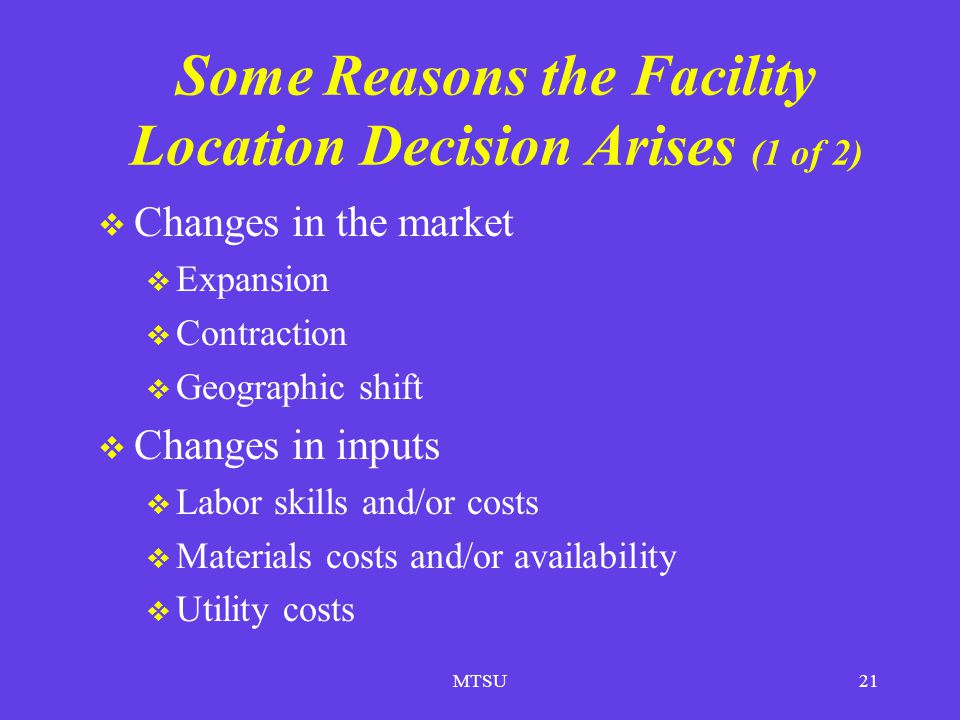 Some Reasons the Facility Location Decision Arises (1 of 2)