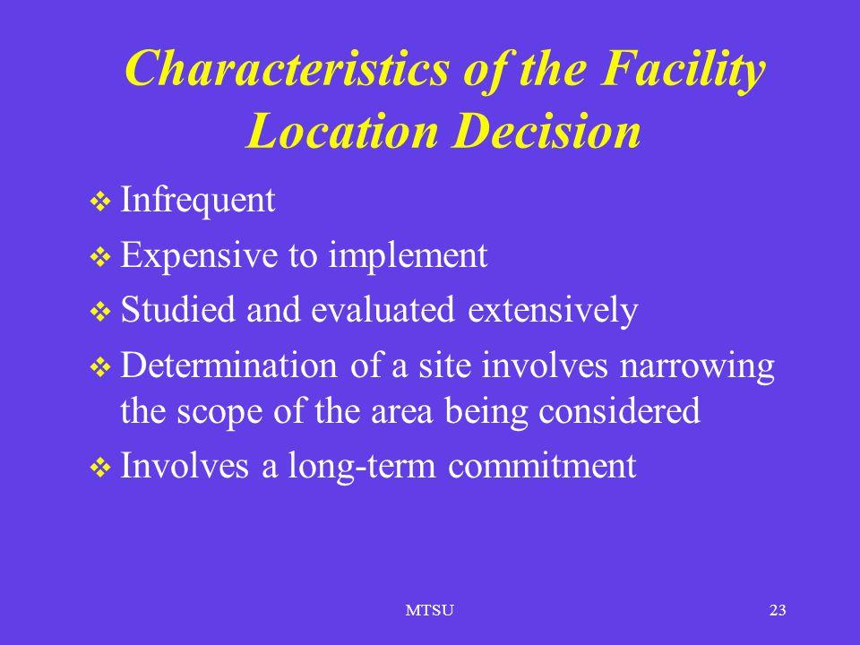 Characteristics of the Facility Location Decision