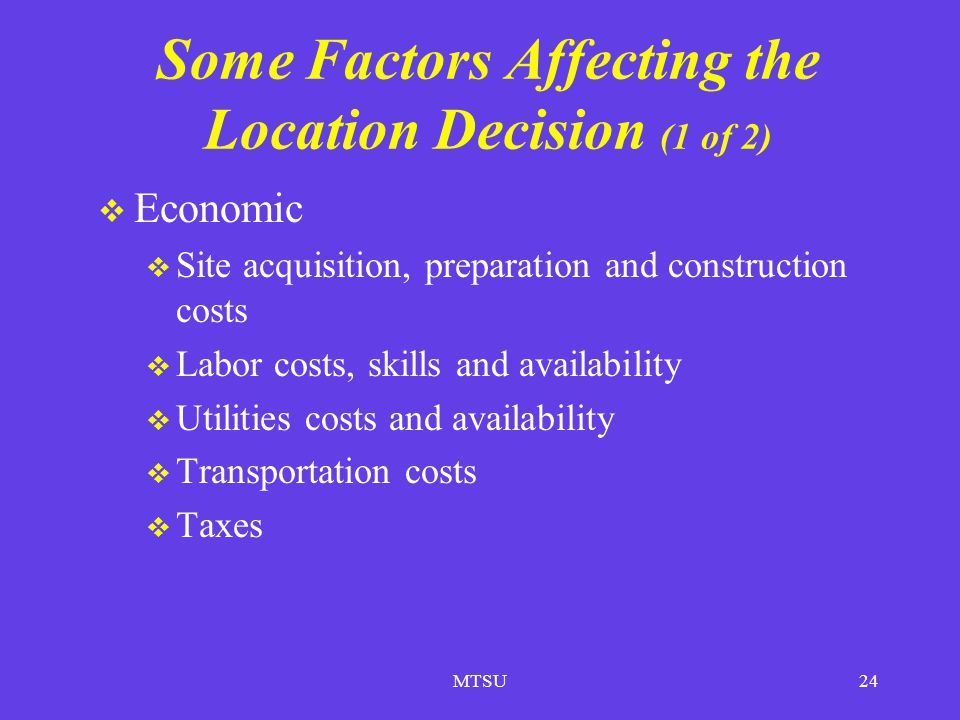 Some Factors Affecting the Location Decision (1 of 2)