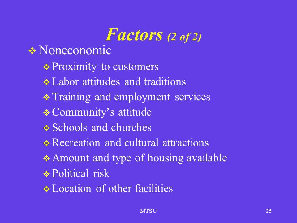Factors (2 of 2) Noneconomic Proximity to customers