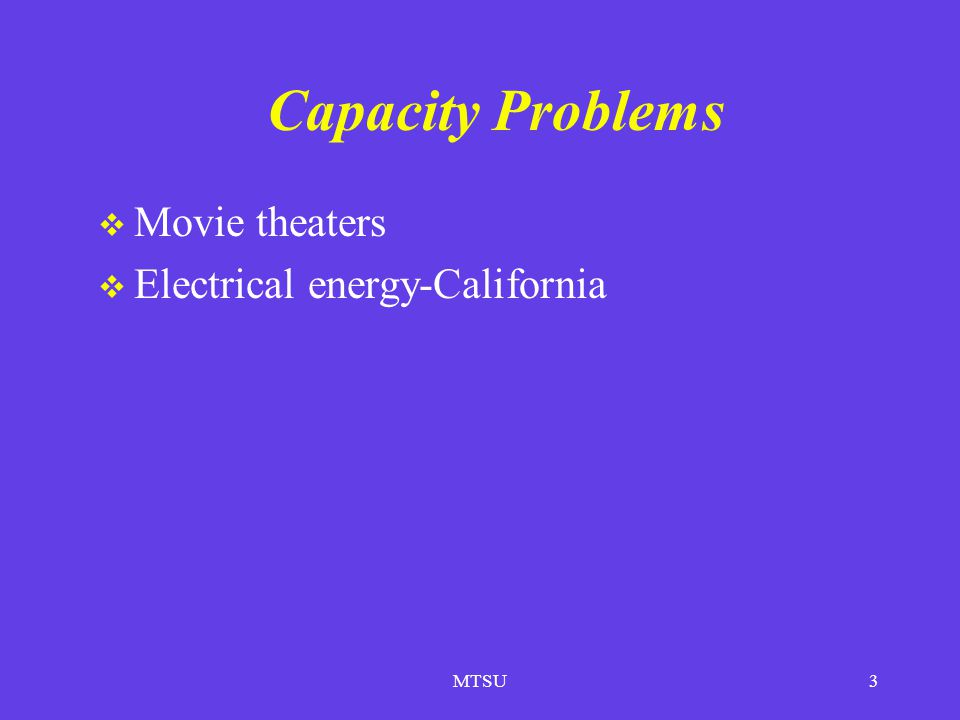 Capacity Problems Movie theaters Electrical energy-California MTSU