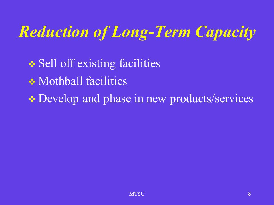 Reduction of Long-Term Capacity