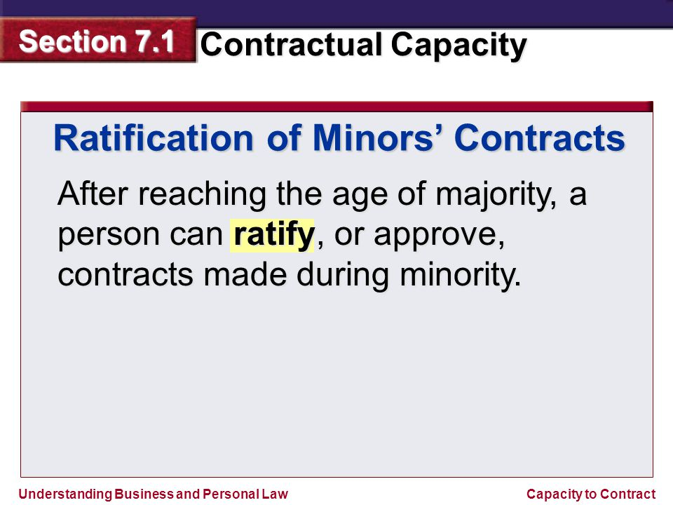 Ratification of Minors' Contracts