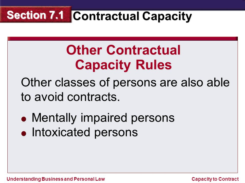 Other Contractual Capacity Rules