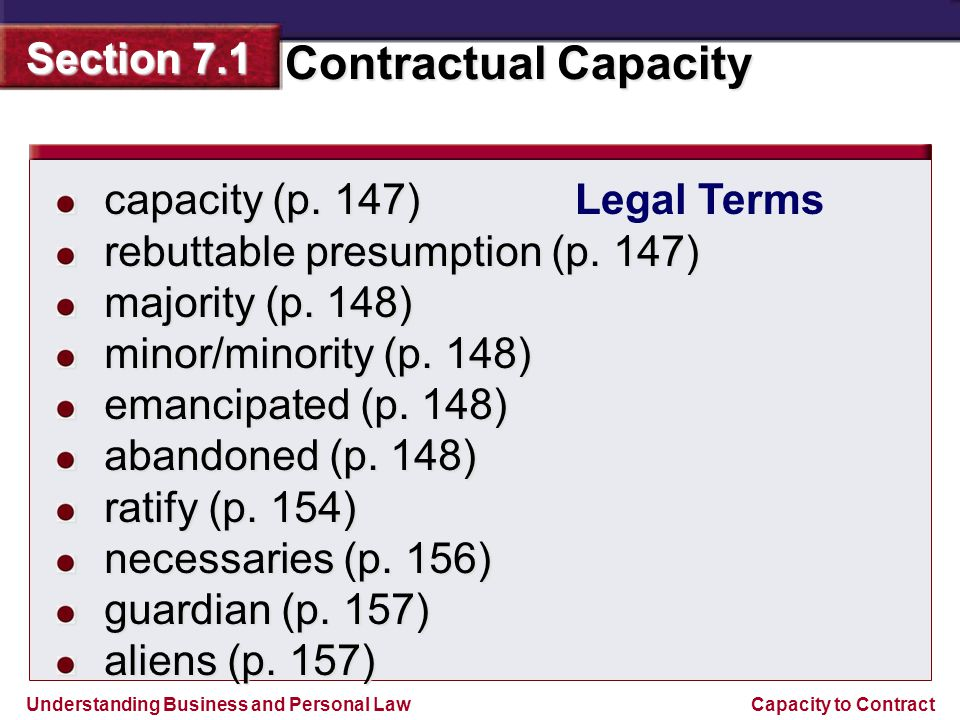 capacity (p. 147) rebuttable presumption (p. 147) majority (p. 148) minor/minority (p. 148) emancipated (p. 148)