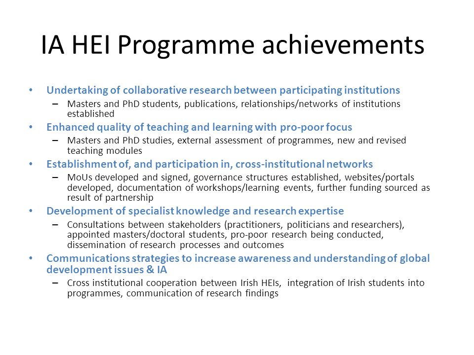 IA HEI Programme achievements