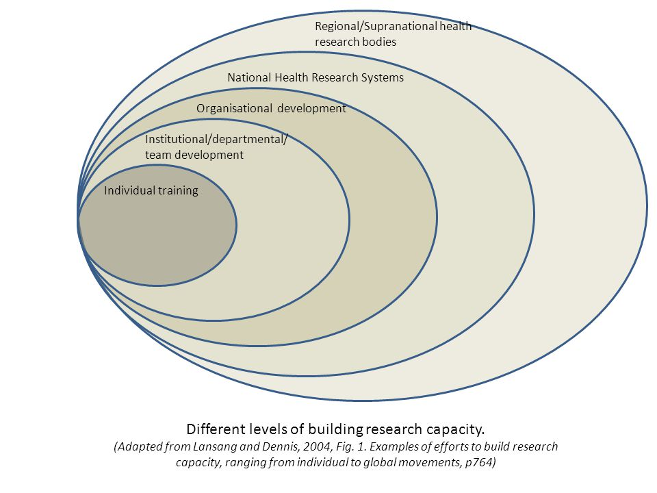 Different levels of building research capacity.