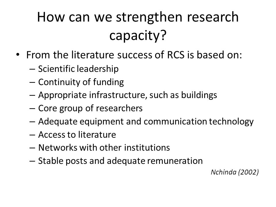 How can we strengthen research capacity