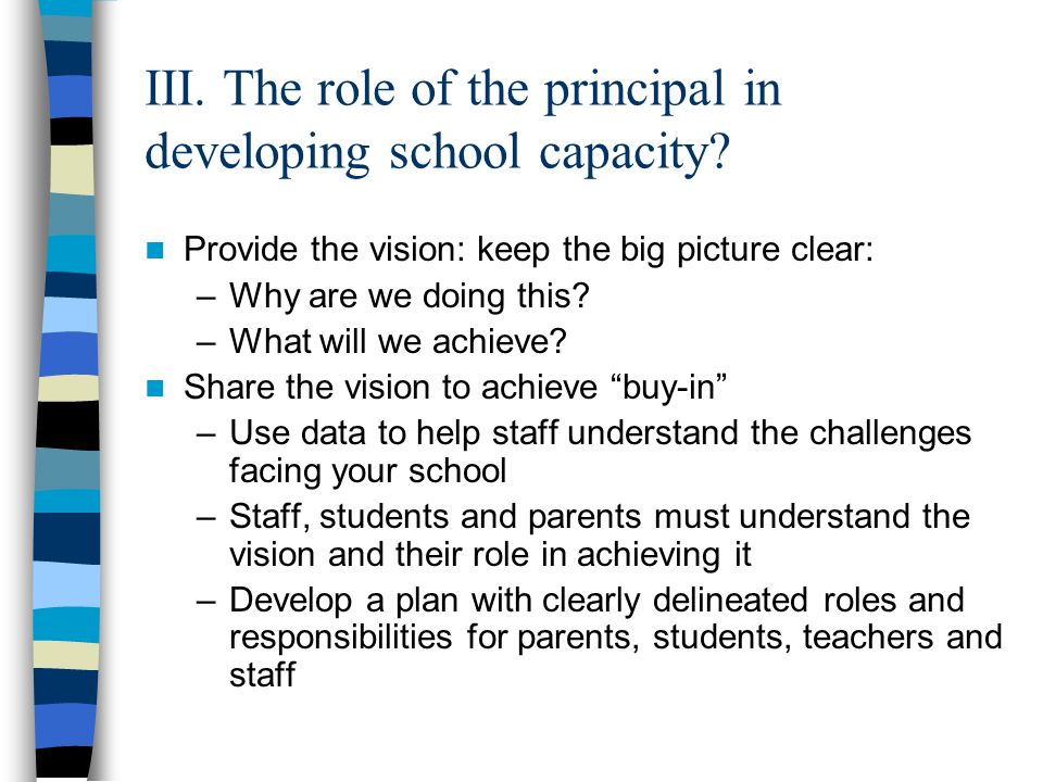 III. The role of the principal in developing school capacity