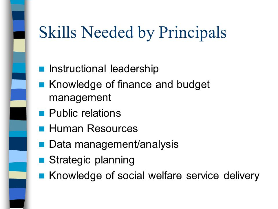 Skills Needed by Principals