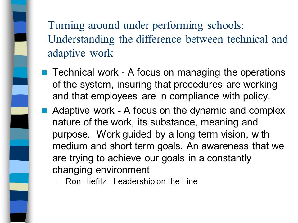 Turning around under performing schools: Understanding the difference between technical and adaptive work
