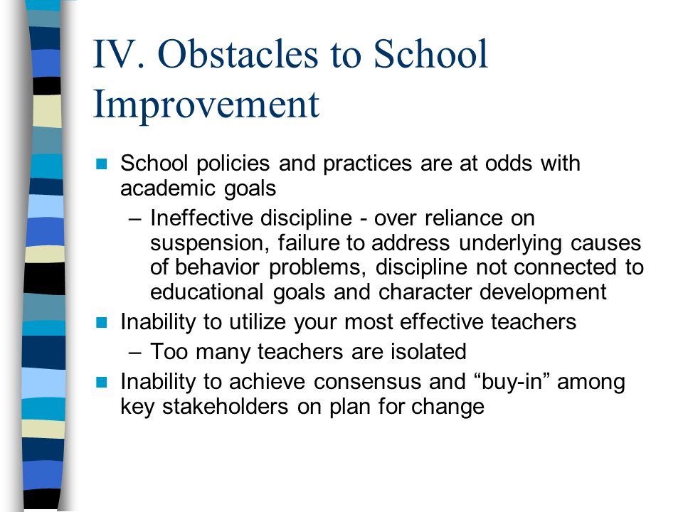 IV. Obstacles to School Improvement