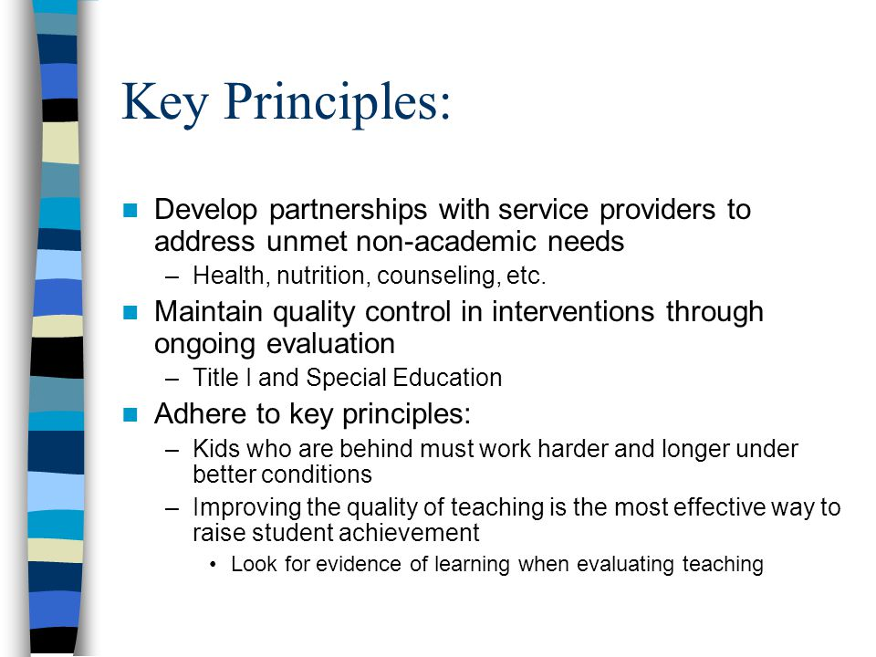 Key Principles: Develop partnerships with service providers to address unmet non-academic needs. Health, nutrition, counseling, etc.