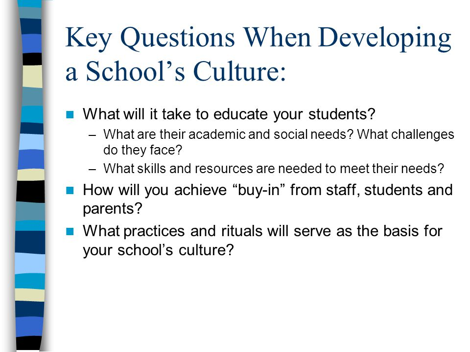 Key Questions When Developing a School's Culture: