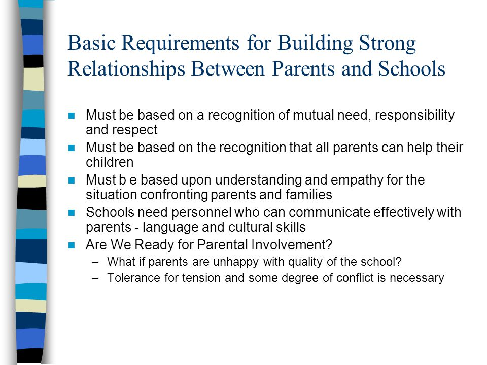 Basic Requirements for Building Strong Relationships Between Parents and Schools