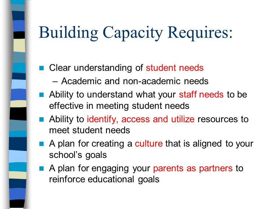 Building Capacity Requires: