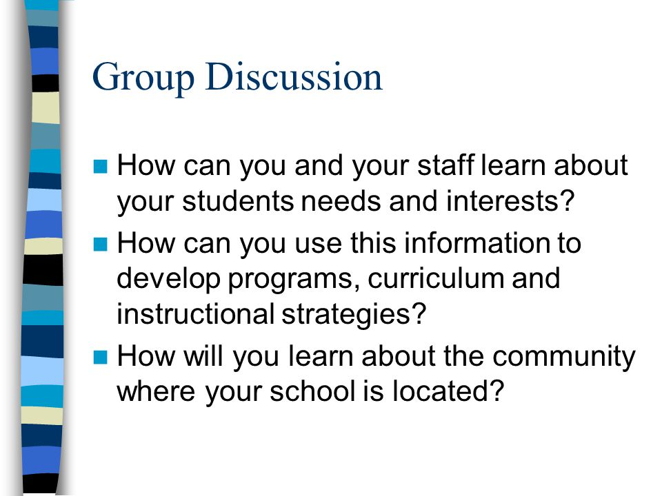 Group Discussion How can you and your staff learn about your students needs and interests