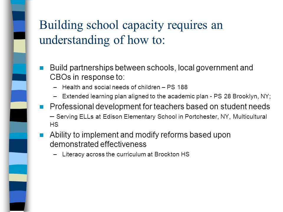 Building school capacity requires an understanding of how to: