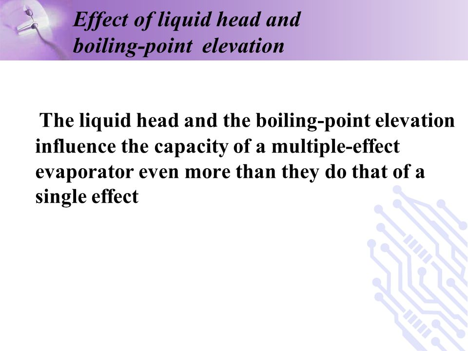 Effect of liquid head and boiling-point elevation
