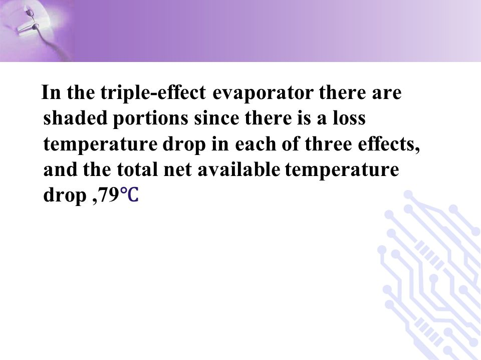 In the triple-effect evaporator there are shaded portions since there is a loss temperature drop in each of three effects, and the total net available temperature drop ,79℃