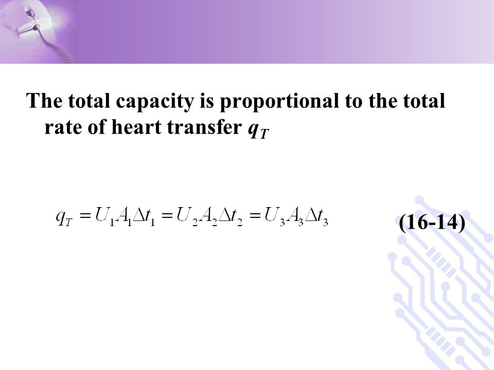 The total capacity is proportional to the total rate of heart transfer qT